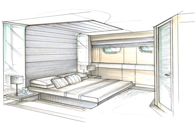 27m Catamaran Interior Sketch